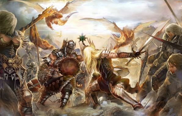 Картинка оружие, драконы, доспехи, битва, мечи, рыцари, щиты, MMORPG, battle, knights, Perfect world, swords, Forsaken world, …