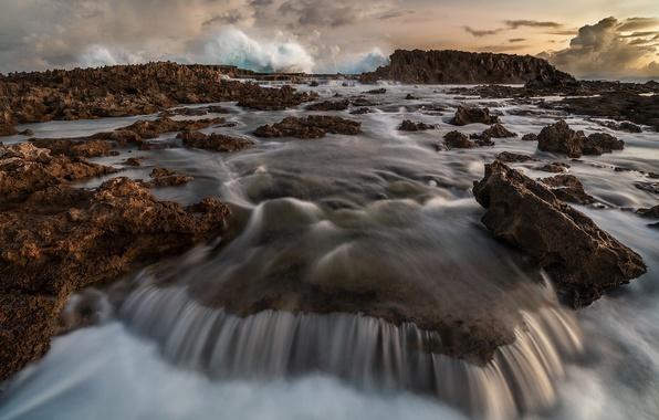 Картинка море, волны, природа, камни, скалы, потоки