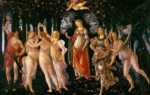 Картинка картина, Весна, мифология, Сандро Боттичелли