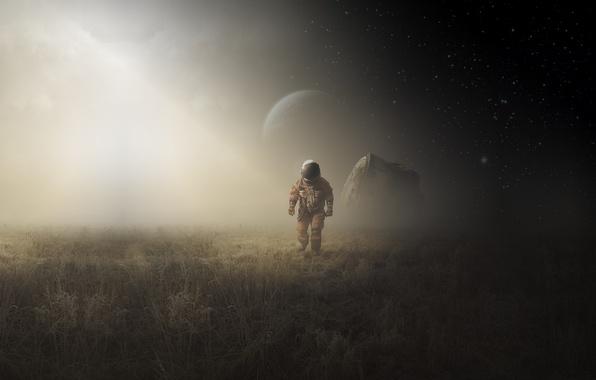 Картинка moon, field, art, man, astronaut, capsule landing
