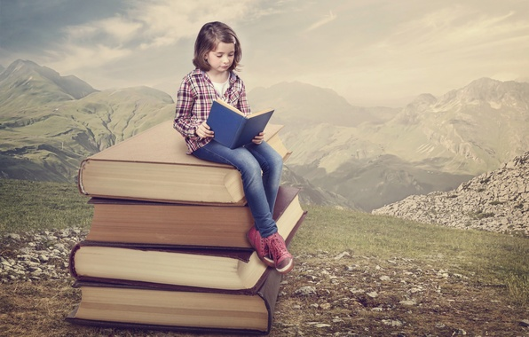 Картинка горы, природа, книги, девочка, чтение