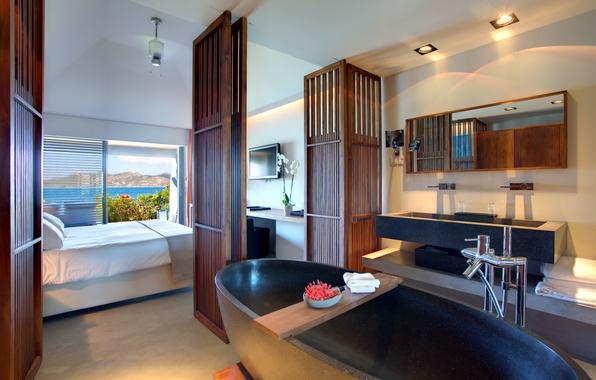 Картинка море, горы, комната, окна, кровать, двери, зеркало, телевизор, ванна, ванная, отель, спальня, hotel, room, Christopher, …