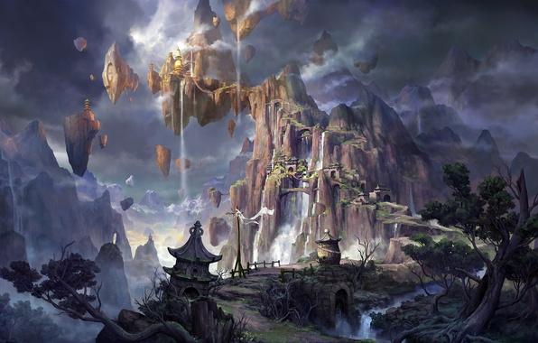 Картинка горы, скалы, азия, здания, высота, водопад, фэнтези, арт, водопады