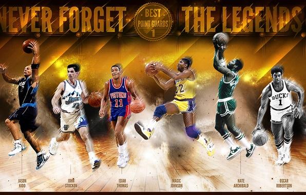 Картинка Спорт, Баскетбол, NBA, Легенды, Magic Johnson, Isiah Thomas, Oscar Robertson, Nate Archibald, John Stockon, Jason …
