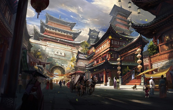Картинка облака, пейзаж, птицы, город, люди, азия, кони, дома, собака, арт, арка, храм, повозка