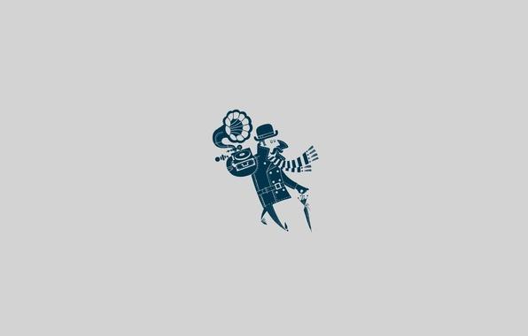 Фото обои усы, музыка, шляпа, зонт, шарф, Мужчина, пальто, граммофон, походка