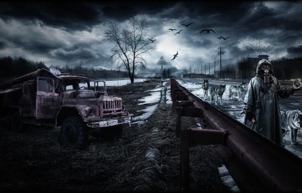 Картинка дорога, гроза, машина, осень, небо, трава, птицы, артефакт, апокалипсис, стая, весна, техника, волки, Пейзаж, Чернобыль, …