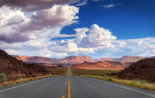 Картинка дорога, небо, асфальт, горы, природа, пути, скала, полосы, путь, камни, скалы, полоса, пустыня, пейзажи, камень, …