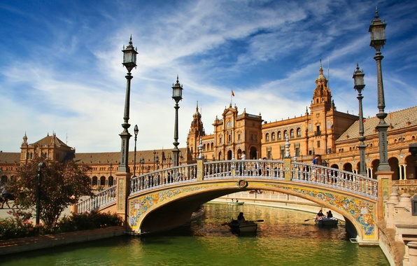 Картинка мост, река, лодки, фонари, Испания, Spain, Севилья, Андалусия, Andalusia, Seville, Площадь Испании, Plaza de Espana