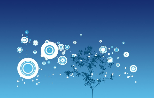Картинка круги, дерево, минимализм, Вектор