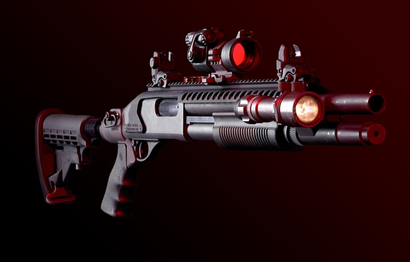 Картинка оружие, фонарик, дробовик, прицел, weapon, планка пикатини