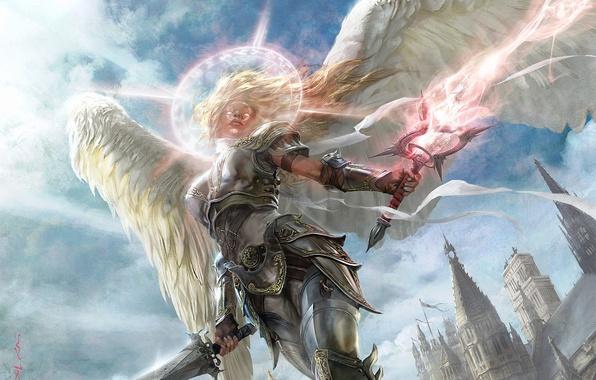 Картинка девушка, свет, город, магия, доспехи, Ангел, мечи, нимб, шпили