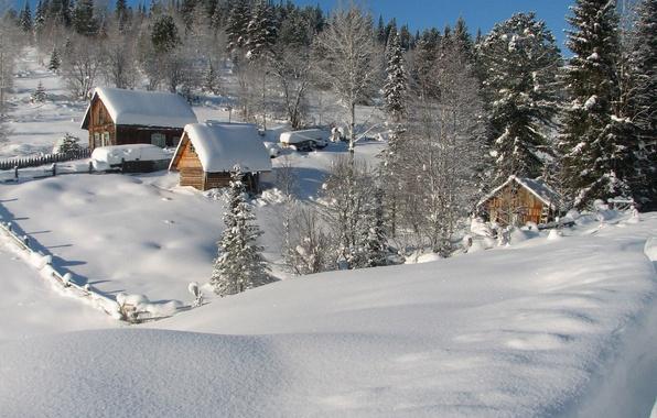 Картинка зима, небо, снег, деревья, дом, склон