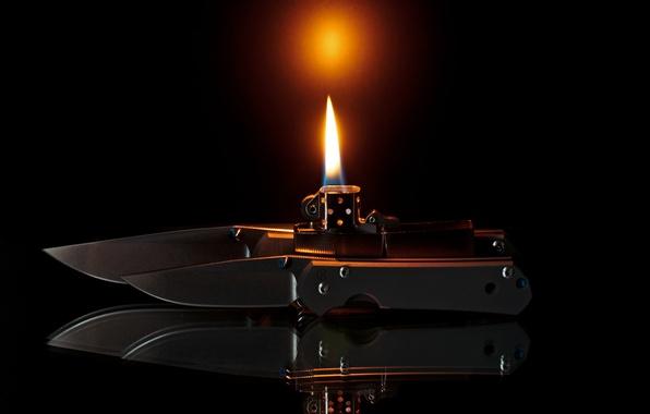 Картинка огонь, пламя, зажигалка, zippo, ножи, складные, sebenza