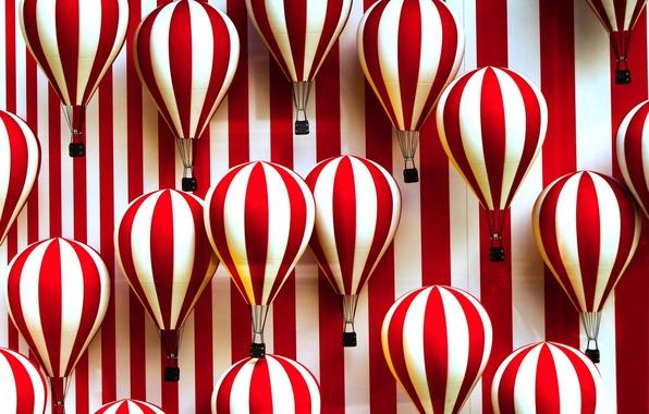 Картинка полосы, воздушные шары, белые, красно