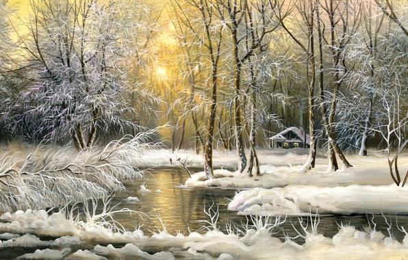 Картинка холод, зима, снег, деревья, картина, домик, живопись, маслом