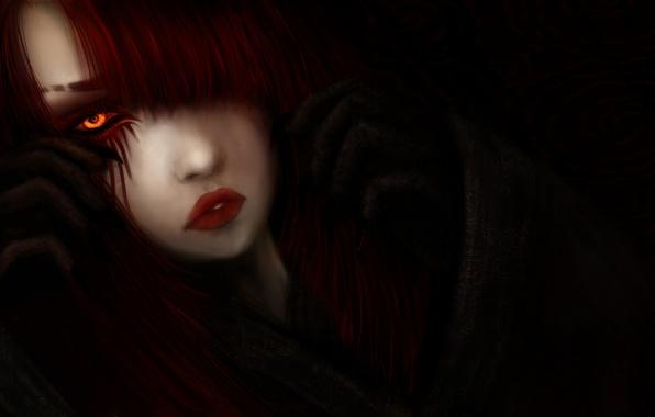 Картинка взгляд, девушка, волосы, арт, черный фон, желтые глаза, красные губы, фантатика