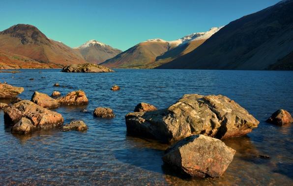 Фото обои небо, озеро, горы, камни
