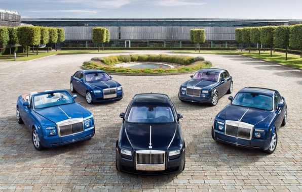 Картинка пруд, Rolls-Royce, Phantom, выставка, пять