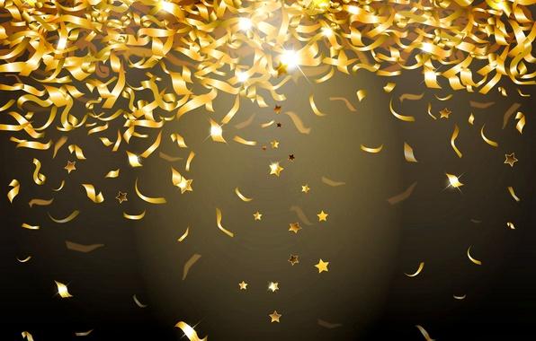 Картинка сияние, фон, золото, блестки, golden, glow, конфетти, sparkle, glitter, confetti