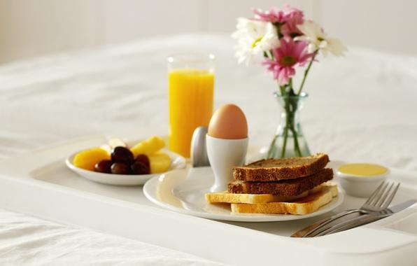 Картинка цветы, яйцо, еда, завтрак, сок, хлеб, ваза, сладкое, тосты, апельсин. апельсиновый