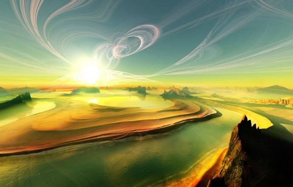 Картинка песок, небо, солнце, облака, лучи, свет, закат, горы, природа, река, рисунок, остров, дюны