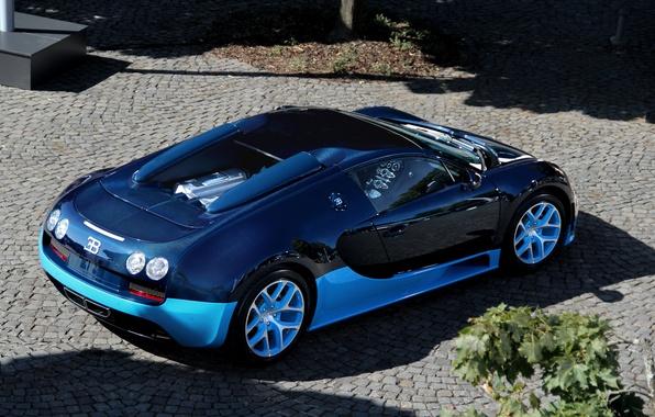 Картинка синий, Bugatti, veyron, суперкар, supercar, бугатти, blue, вейрон, grand sport, vitesse