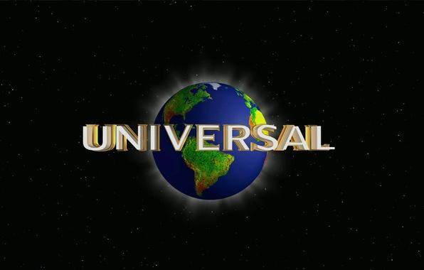 Картинка звезды, земля, надпись, планета, лого, киностудия, universal