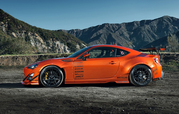 Картинка Orange, Toyota, Mountain, Style, Tuning, Wheels, Rims, Widebody, FR-S, Scion, Spoilers