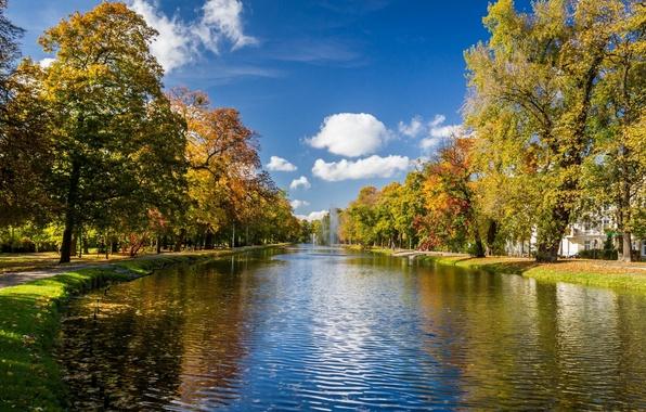 Картинка осень, деревья, парк, река, аллея, фонтаны