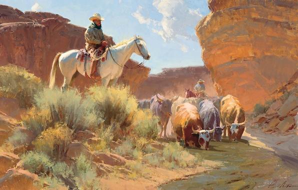 Картинка река, лошадь, картина, коровы, ковбой, водопой