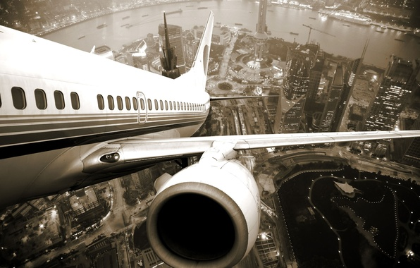 Картинка город, высота, крыло, турбина, Шанхай, самолёт, twilight, Airplane, shanghai