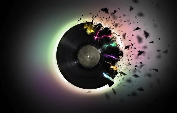 Картинка музыка, черный, куски, винил, пластинка