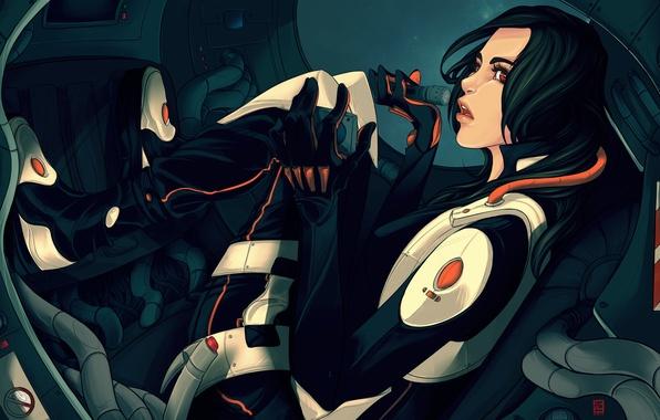 Картинка взгляд, девушка, лицо, фантастика, провода, рука, арт, профиль, броня