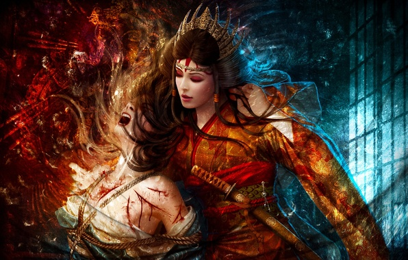 Картинка девушки, меч, веревка, корона, арт, боль, mario wibisono, пытки, legend of the five rings, asako …