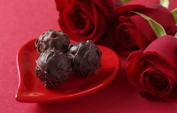 Картинка любовь, шоколад, розы, конфеты, red, love, heart, romantic, chocolate, Valentine's day, gift, roses