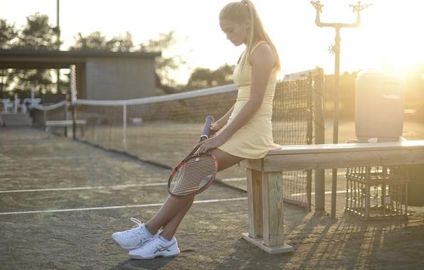 Картинка девушка, спорт, ракетка, корт