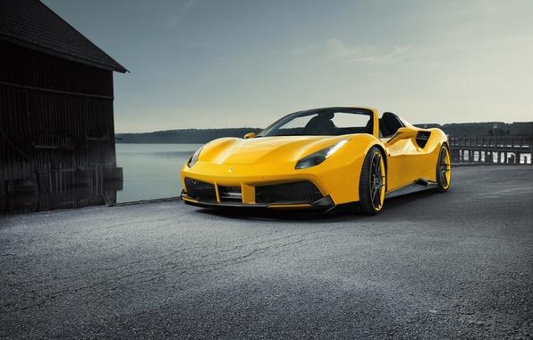 Картинка car, машина, желтый, Ferrari, феррари, tuning, передок, Spider, Rosso, Novitec, 488