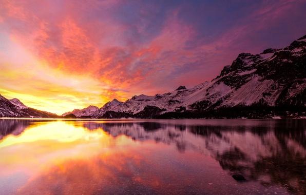 Картинка зима, пейзаж, горы, озеро, рассвет
