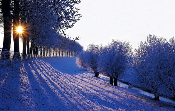 Картинка зима, небо, солнце, снег, пейзаж, природа, гора, white, sky, landscape, nature, sunset, winter, snow, sun
