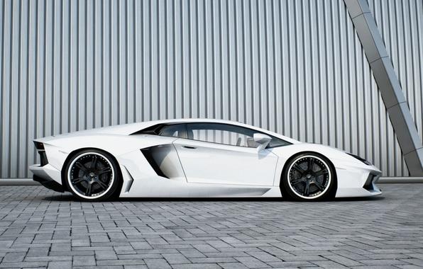 Картинка белый, стена, профиль, white, wheels, lamborghini, black, aventador, lp700-4, ламборгини, авентадор, чёрные диски