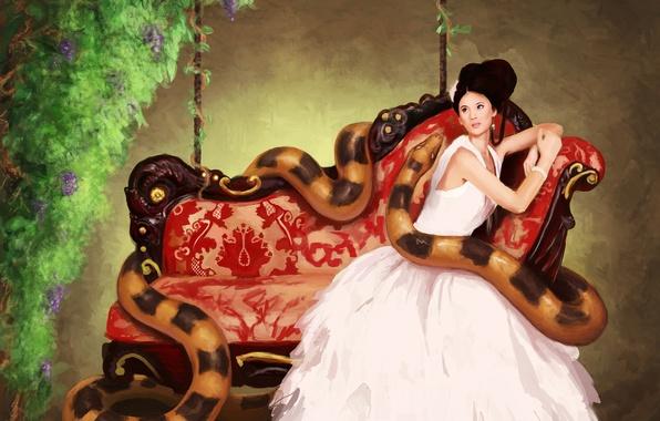 Картинка девушка, цветы, диван, змея, платье, арт, sanguisgelidus