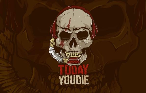 Картинка страх, обои, игра, череп, зубы, наушники, звук, Лого, скелет, микрофон, кость, logo, уши, дота, Dota …
