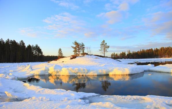 Картинка зима, лес, небо, вода, снег, природа, река, фото