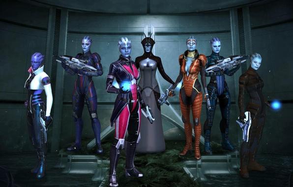Картинка поза, рендеринг, оружие, девушки, Mass Effect, костюмы, Азари, биотики