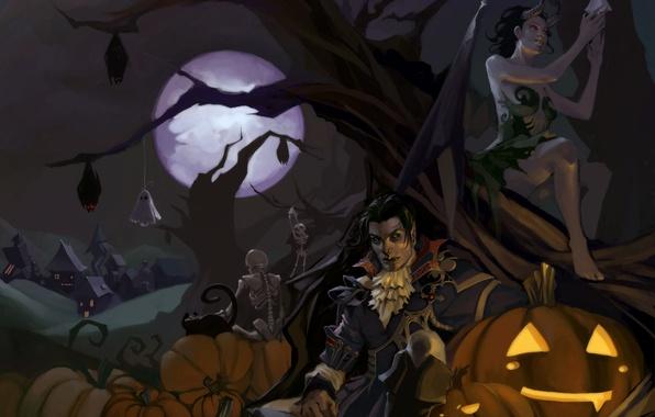 Картинка кошка, ночь, дерево, луна, деревня, демон, арт, тыквы, Halloween, вампир, Хэллоуин, летучие мыши, демонесса, скелеты