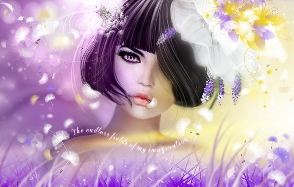 Картинка девушка, цветы, брюнетка, прическа
