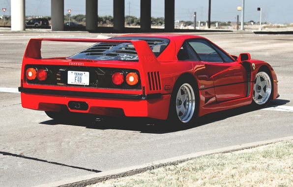 Картинка красный, улица, Ferrari, red, феррари, street, back, f40, ф40