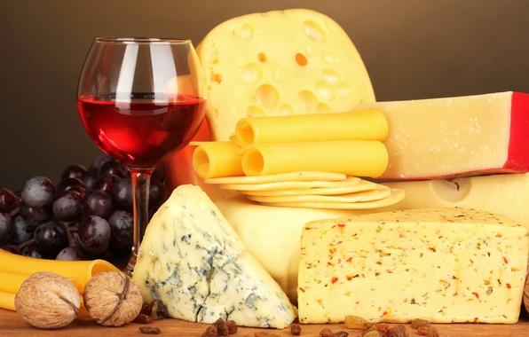 Картинка вино, бокал, сыр, виноград, орехи, wine, grapes, cheese