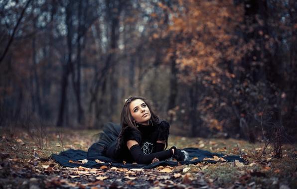 Картинка осень, лес, листья, девушка, платье, боке